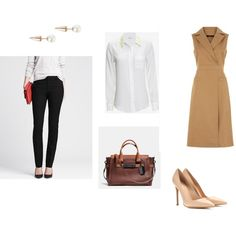 Interview Outfit by stylebyali on Polyvore featuring Jaeger, Equipment, Banana Republic, Gianvito Rossi and Coach