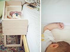 Little Mod Co-Sleeper - custom made to fit your bed and can transition into a sweet bench once the baby gets older.