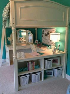 Girls room, mirror, shelves and desk space. Girl Bedroom Designs, Bedroom Ideas, Bedroom Decor, Bed Ideas, Teen Bedroom, Girls Room Desk, Girls Bedroom Storage, Kids Room, Loft Beds