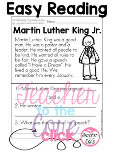 Teaching about Martin Luther King Jr. to kinder, first, and second graders. This post is filled with freebies, ideas, activities, and videos !
