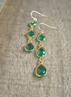 Triple Drop Earrings, Green Agate Earrings, Statement Jewelry, Emerald Green Earrings, Long Linear Earrings, Gemstone Earrings