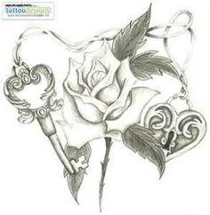 Heart Lock Skeleton Key Rose By Holliewood Image  Tattooing Tattoo
