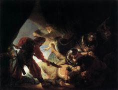 """REMBRANDT """"The Blinding of Samson"""" 1636, Oil on canvas, 236 cm x 302 cm, Städelsches Kunstinstitut, Frankfurt"""