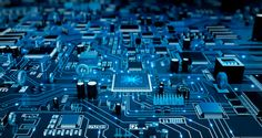 Futuristic Circuit Board. Blue with electrons. stock photo