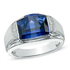 Men's Barrel-Cut Lab-Created Blue Sapphire and Diamond Accent Ring in Sterling Silver - Size 10  - Peoples Jewellers