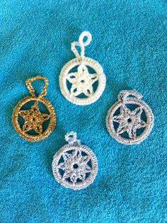 crochet milk bottle top ring Christmas decorations - stars