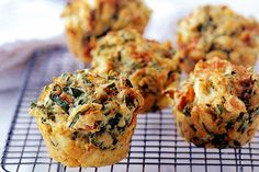 For a savoury snack that's quick and easy to make, these spinach and feta muffins hit the spot. Filled with tasty and nutritious ingredients, eat these on the go or pack into school lunches. Savory Muffins, Savory Snacks, Healthy Snacks, Cheese Muffins, Mini Muffins, Savoury Muffin Recipe, Egg Muffins, Muffin Recipes, Breakfast Recipes