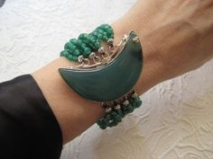 Vintage Emerald Green Agate  Multi Strand by LarasPerfectGems, $299.00 (Now this is a statement bracelet!)