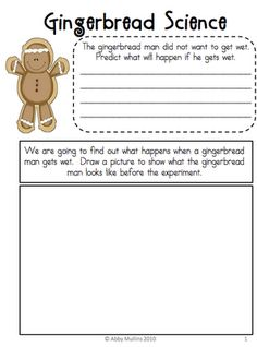 what if the gingerbread man did try to swim and got wet?  Predictions and language use.  Do the experiment and find out.