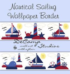 Nautical Wallpaper Border Wall Art Decals for Baby Boy Sailboat Nursery, Children's Bedroom Decor, or any home decorating ideas #decampstudios
