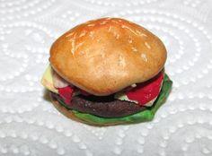 Minyatür Hamburger, polymer clay, miniature food, miniature burger