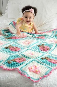 Bugs and Blooms Blanket in Red Heart Super Saver Economy Solids - LW3736