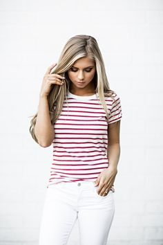 Dolley Striped Tee, jessakae, blonde, hair, blonde hair, stripes, fourth of july, memorial day, tee