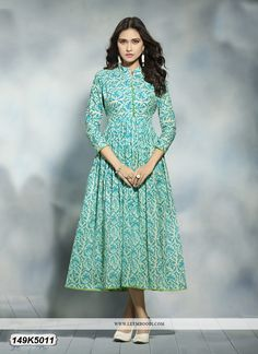 Buy lustrous beige & blue colored cotton anarkali designer kurti online at Leemboodi Fashion India. Best designer kurti available online for women at best price. Buy Now!
