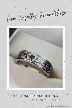 Custom made Irish Claddagh Ring set with a vibrant emerald. Handcrafted in Ireland Irish Jewelry, Claddagh Rings, Handcrafted Jewelry, Handmade, Precious Metals, Bespoke, Class Ring, Ireland, Emerald