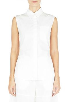 White collared sleeveless top from T by Alexander Wang from the Pre-fall 2016 collection. Beautiful open back top that ties together and pairs well with pants. Hidden button up closure in front.  White Poplin Top by T by Alexander Wang. Clothing - Tops Iowa City Iowa