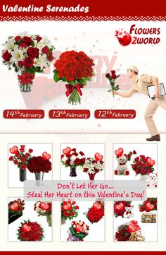 Flowers2world.com is offering Valentine's Day serenades flowers. Your first serenade flower bouquet will be delivered on 13th Feb and second one is on the big day yes, 14th Feb. Just think how awesome the surprise will be when your Valentine receives one flower bouquet on 13th Feb and the other one is on 14th Feb.  Order Now! http://www.flowers2world.com/valentine/valentines-day-flowers.asp