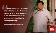 """""""The ride will be rough but come and join me just the same, together, shoulder to shoulder let us take the first wobbly steps in this quest,"""" newly-sworn in President Rodrigo Duterte tells over 100 million Filipinos. Rodrigo Duterte Quotes, Inaugural Speech, President Of The Philippines, Power Photos, Current President, War On Drugs, Political Science, Foreign Policy, The Republic"""