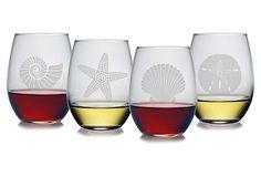 S/4 Asst. Seashore Stemless Wineglasses on OneKingsLane.com