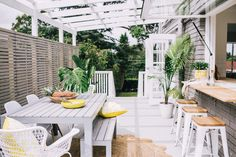 ***The side patio has a pergola that we could paint white, and I absolutely love the white sealed concrete for the two patios~ Outdoor Areas, Outdoor Rooms, Outdoor Dining, Indoor Outdoor, Outdoor Furniture Sets, Outdoor Decor, Outdoor Fabric, Dining Furniture, Three Birds Renovations