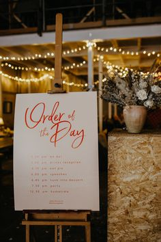 Pink and Red Contemporary Order of the Day Wedding Sign | By Lucy Little Photography | Manchester Wedding | Industrial Wedding | Jesus Peiro Wedding Dress | Bride with Fringe | Northern Wedding Venue | Wedding Sign | Wedding Decor Rustic Wedding Signs, Wedding Signage, Diy Wedding, Wedding Venues, Wedding Day, Wedding Dress, Order Of The Day Wedding, Wedding Hair Inspiration, Nontraditional Wedding