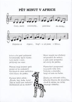 Pět minut v Africe Chor, Kids Songs, Pre School, School Projects, Preschool Activities, Continents, Kids And Parenting, Sheet Music, Kindergarten
