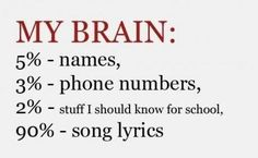 Funny pictures about My brain. Oh, and cool pics about My brain. Also, My brain photos. Music Love, Music Is Life, True Quotes, Funny Quotes, 90 Songs, Anthem Lights, My Brain, My Chemical Romance, Music Lyrics