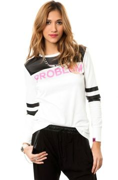 Women's #Fashion #Clothing: #Tops, Blouses, and #Shirts: Married to the Mob Women's Problem Logo Team Shirt in White, Black and Pink: Clothes
