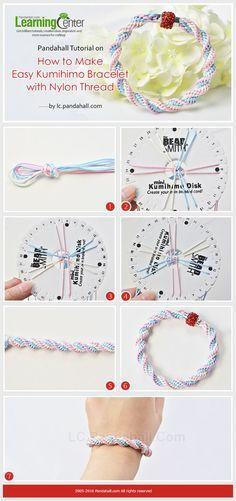 Pandahall Tutorial on How to Make Easy Kumihimo Bracelet with Nylon Thread from LC.Pandahall.com: