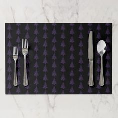 Merry Christmas Tree Pattern Purple Metallic Placemat - patterns pattern special unique design gift idea diy