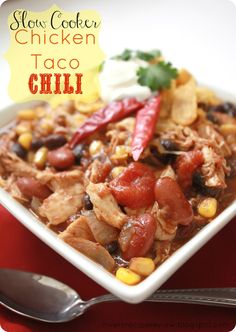 Slow Cooker Chicken Taco Chili