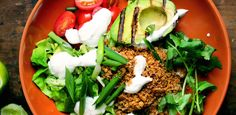 South of the Border Bowls with Walnut Meat and Grilled Avocado