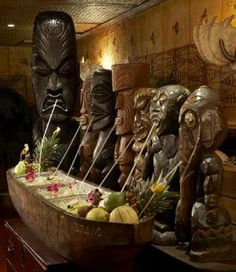 Tikis getting their drink on