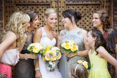 Bridal Party with Bouquets  Venue - Sassi  Photographer - Terry McKaig #rusticwedding #bridalparty