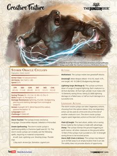 D&D Creature Feature – Storm Oracle Cyclops – The Dungeon Geek Dnd Dragons, Dungeons And Dragons 5e, Dungeons And Dragons Characters, Dungeons And Dragons Homebrew, Monster Concept Art, Fantasy Monster, Skyrim, Dnd Stats, Dnd Races