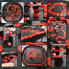 """Ladybird inspired red and black bottle top play - from Rachel ("""",)"""