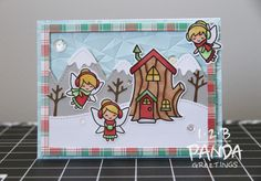 1-2-B PANDA GREETINGS | LAWNSCAPING CHALLENGE #144-FROSTY FAIRY FRIENDS WINTER CARD