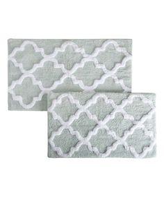 Sea Foam Trellis Cotton Bath Mat Set