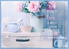 Postkarte im Landhausstil mit Bibeltext Format:10,5 cm x 14,8 cm Motiv im Landhausstil Bibeltext aus 2. Thessalonicher 3,3: Der Herr ist treu: Er wird euch stärken und bewahren von dem Bösen.