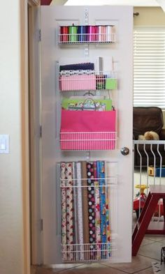 Gift Wrap Elfa Rack - with link to the container store and list of what you need to create this fab storage idea