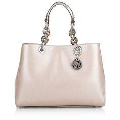 MICHAEL Michael Kors Cynthia MD Satchel Ballet  Bag ($445) ❤ liked on Polyvore featuring bags, handbags, rose, chain handle handbags, leather handbags, pink leather handbag, leather satchel purse and pink handbags