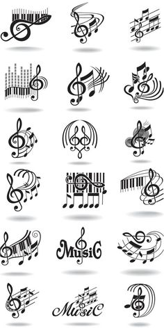 Notes, music staff and treble clef vector | Vector Graphics & Vector Illustrations: