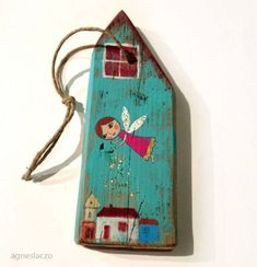 piece of painted / decorated wood - Wooden Art, Wooden Crafts, House Painting, Painting On Wood, Home Crafts, Diy And Crafts, Driftwood Crafts, Pintura Country, Wood Creations