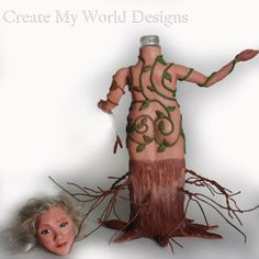 Art doll bottle sculpture - polymer clay and the process of creating it... by Create My World Designs