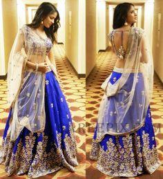 Heroine Lavanya Tripathi in Mrunalini rao lehenga at ATA celebrations in Chicago. She looks awesome in electric blue lehenga with sleeveless and backless b