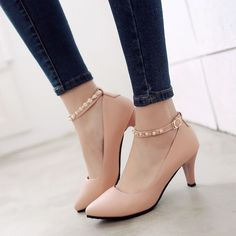Pearl Ankle Straps Women Pumps High Heels Dress Shoes