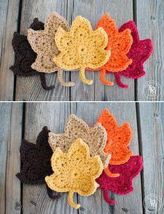Beautiful crochet autumn leaves - free pattern