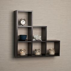 Stepped Six Cubby Decorative Black Wall Shelf - Overstock™ Shopping - Great Deals on Danya B Accent Pieces