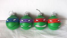 TMNT Ninja Turtles Hand Painted Ornament Set of 4 -Old School Mean Style on Etsy, $50.00