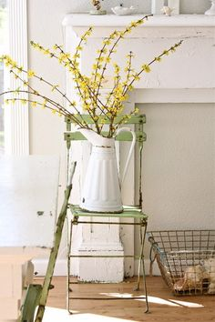 eclectic dining room by Dreamy Whites - forsythia